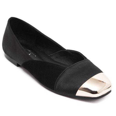 Leisure Splicing and Metal Toe Design Women's Flat Shoes - BLACK 38