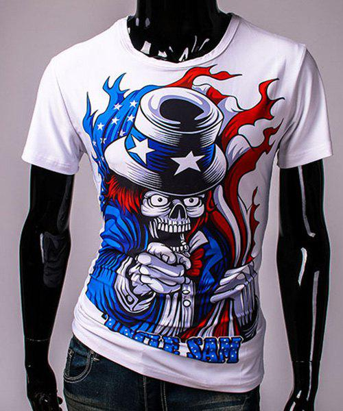 3D Clown Devil Print Round Neck Short Sleeves Men's T-Shirt - WHITE L