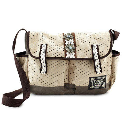 Leisure Dot and Suede Design Women's Crossbody Bag - OFF WHITE