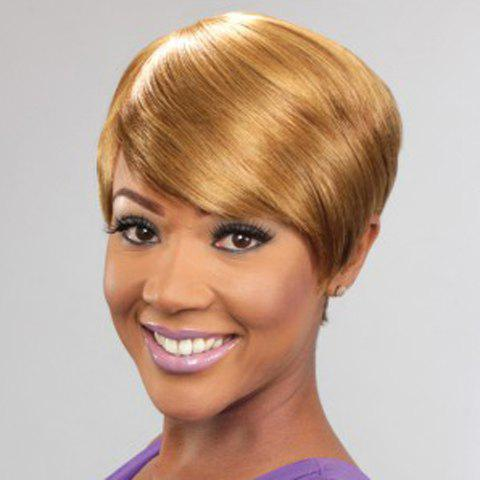 Ladylike Short Straight Capless Fashion Golden Side Bang Synthetic Wig For Women - GOLDEN