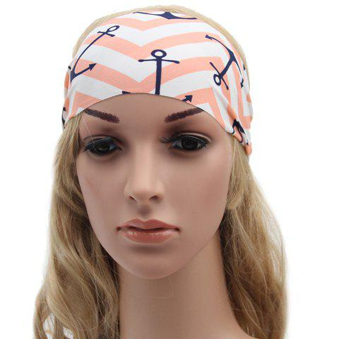 Chic Anchor and Wavy Stripe Pattern Sport Headband For Women - WHITE