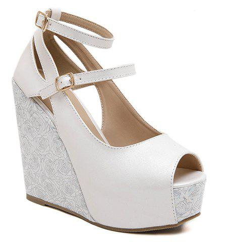 Trendy Platform and Double Buckle Design Women's Peep Toe Shoes - WHITE 34