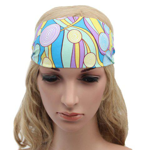 Chic Round and Irregular Stripe Pattern Sport Headband For Women - LAKE BLUE