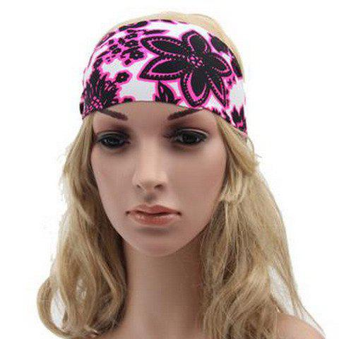 Chic Big Flower Pattern Sport Headband For Women - ROSE