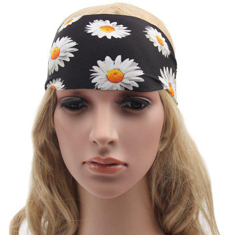 Chic Handpainted Sunflower Pattern Black Sport Headband For Women - BLACK