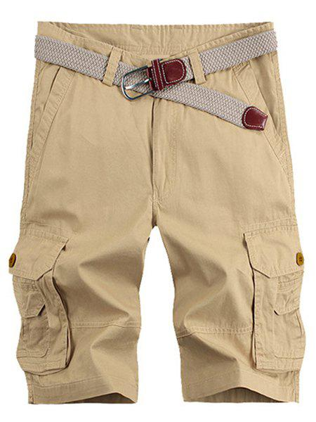 Solid Color Stereo Patch Pocket Straight Leg Zipper Fly Men's Cargo Shorts - KHAKI 38