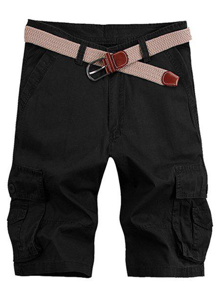 Solid Color Stereo Patch Pocket Straight Leg Zipper Fly Men's Cargo Shorts - BLACK 33