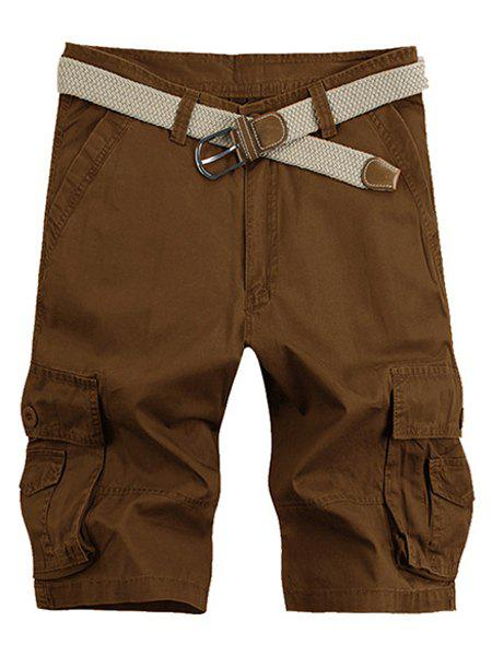Solid Color Stereo Patch Pocket Straight Leg Zipper Fly Men's Cargo Shorts - COFFEE 33