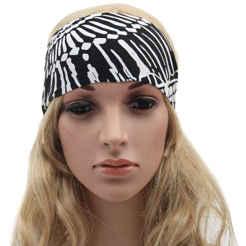 Chic Tribal Style White Doodle Pattern Women's Black Sport Headband - BLACK