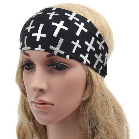 Chic Cross Pattern Black Sport Headband For Women