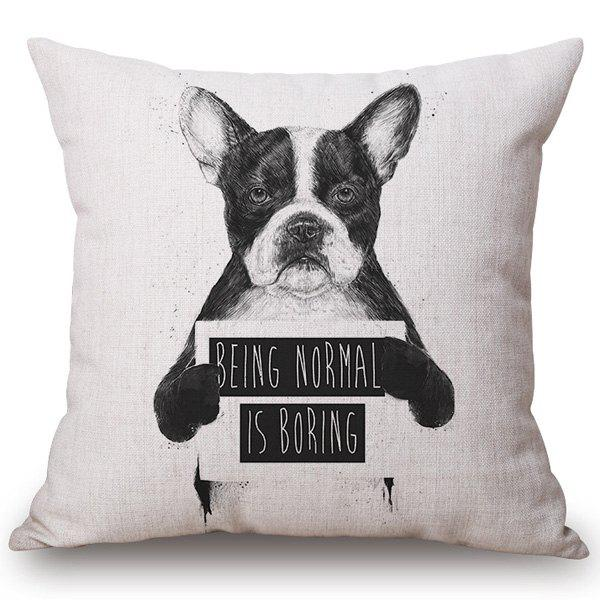 Hot Sale Sketch Dog Pattern Cotton and Linen Pillow Case(Without Pillow Inner) - OFF WHITE
