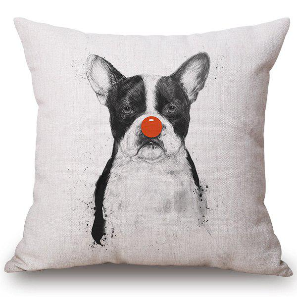 Chic Quality Dog with Red Nose Pattern Cotton and Linen Pillow Case(Without Pillow Inner) - OFF WHITE
