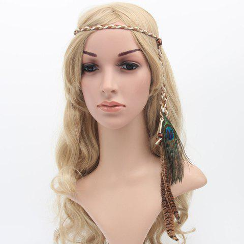 Chic Bohemian Style Peacock Feather Pendant Bead Women's Lace-Up Headband - OFF WHITE