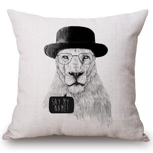 High Quality Sketch Mr. Tiger Pattern Cotton and Linen Pillow Case(Without Pillow Inner) - OFF WHITE