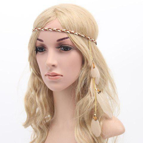 Chic American Indian Style Feather Pendant Women's Weaving Headband - OFF WHITE