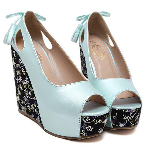 Stylish Hollow Out and Tassels Design Women's Peep Toe Shoes