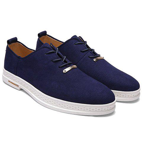 Concise Dark Color and Lace-Up Design Men's Casual Shoes - DEEP BLUE 39