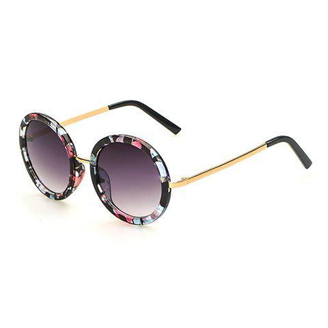 Chic Floral Pattern Round Frame Gold Metal Leg Women's Sunglasses - BLACK
