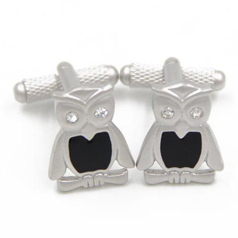 Pair of Trendy Rhinestone Decorated Owl Shape Cufflinks For Men - SILVER