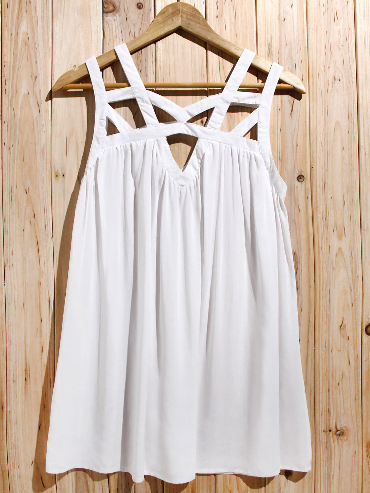 Endearing White Cut Out Sleeveless Pleated Mini Dress For Women - WHITE S