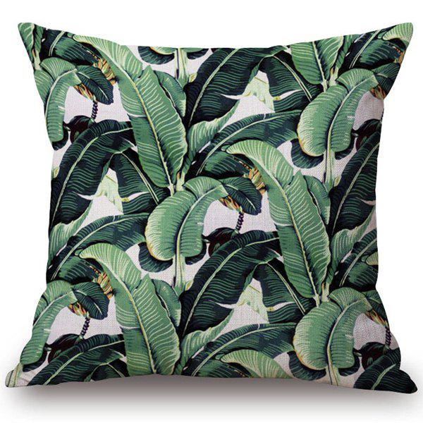 Fashionable Green Leaves Pattern Cotton and Linen Pillow Case(Without Pillow Inner) - GREEN