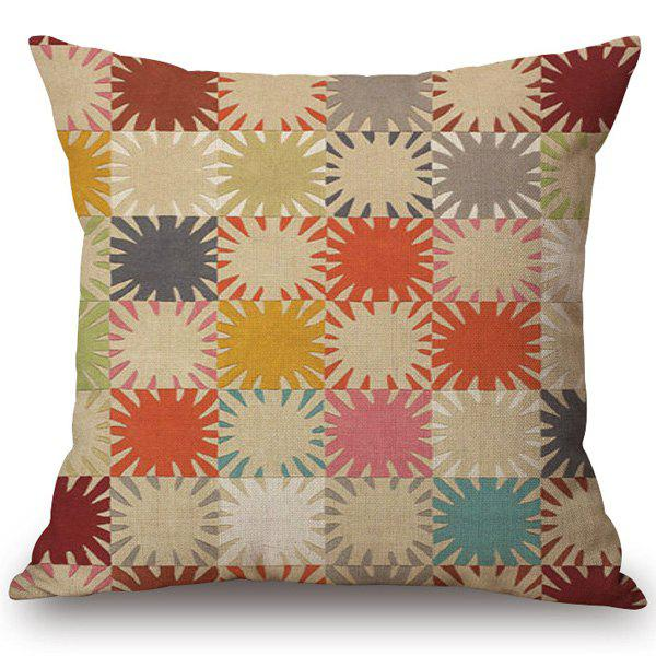 Stylish Chromatic Geometry Pattern Cotton and Linen Pillow Case(Without Pillow Inner) - COLORMIX