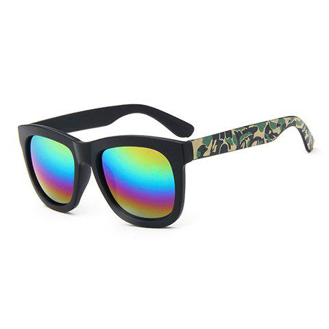 Chic Camouflage Pattern Leg Rainbow Color Lenses Women's Sunglasses - BLACK