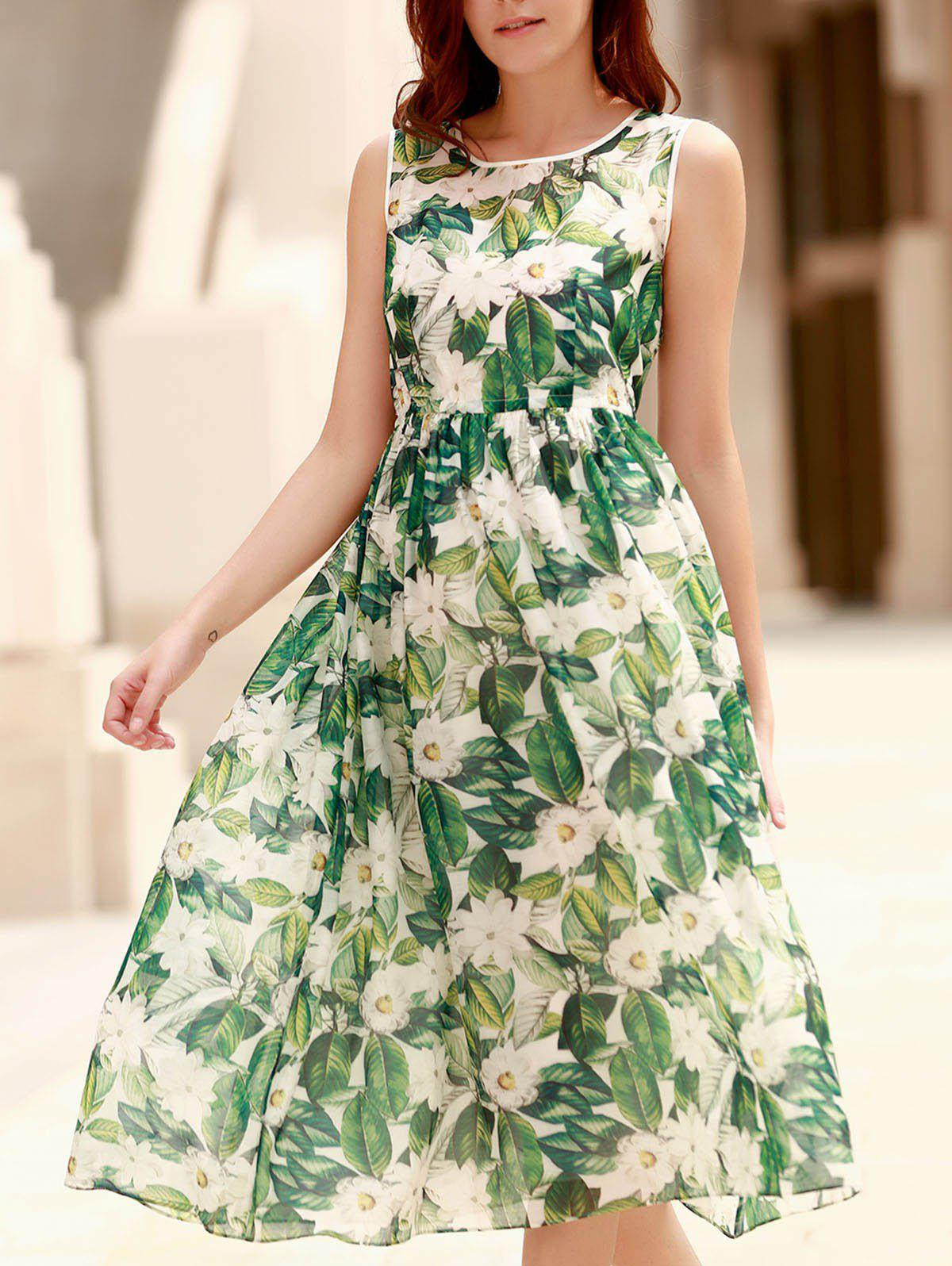 Elegant Jewel Neck Sleeveless Floral Print Pleated Dress For Women - EMERALD S