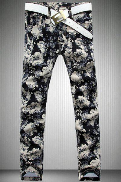 Casual Flower Printed Zip Fly Denim Pants For Men - COLORMIX 30