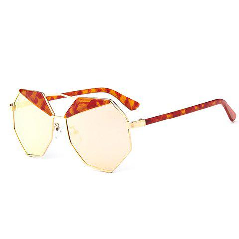 Chic Metal Polygonal Frame Marble Pattern Women's Sunglasses - JACINTH