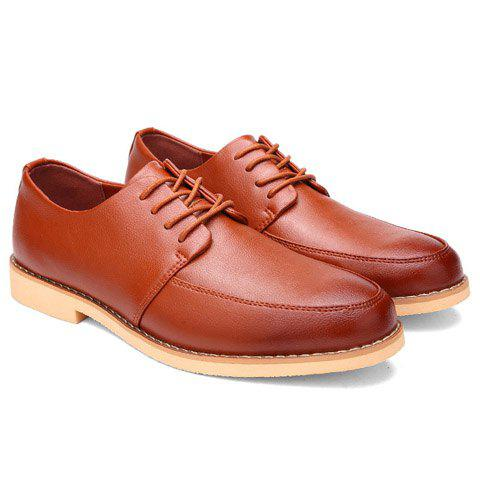 Stylish Lace-Up and Round Toe Design Men's Casual Shoes - BROWN 41