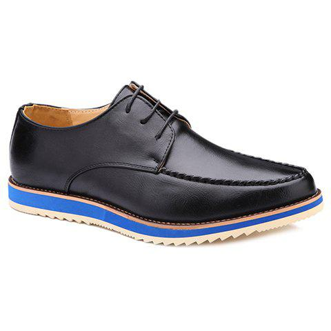 Stylish Stitching and PU Leather Design Men's Casual Shoes - BLACK 40