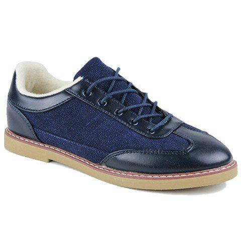 Stylish Splicing and Stitching Design Men's Casual Shoes - BLUE 39