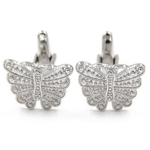 Pair of Chic Butterfly Shape Silver Alloy Cufflinks For Men - SILVER