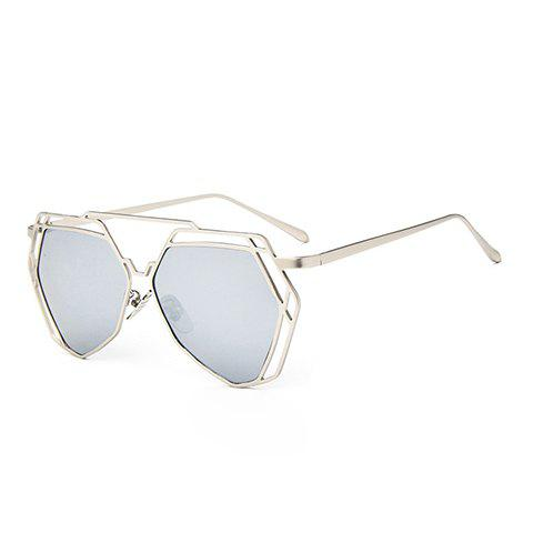 Chic Hollow Metal Silver Polygonal Frame Women's Sunglasses