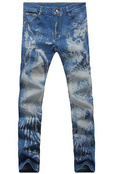 Casual Dragon Printed Zip Fly Denim Pants For Men
