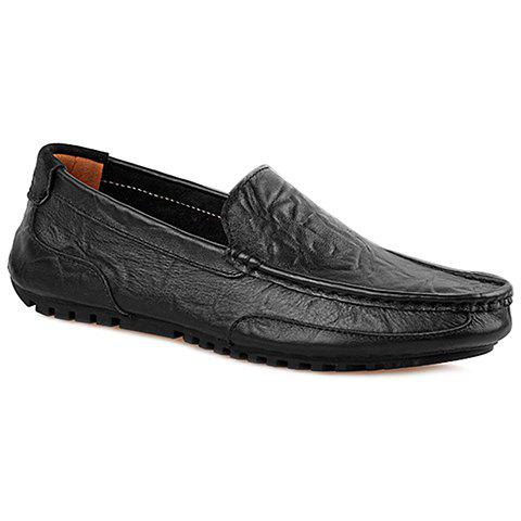 Trendy Solid Colour and Stitching Design Men's Casual Shoes - BLACK 40