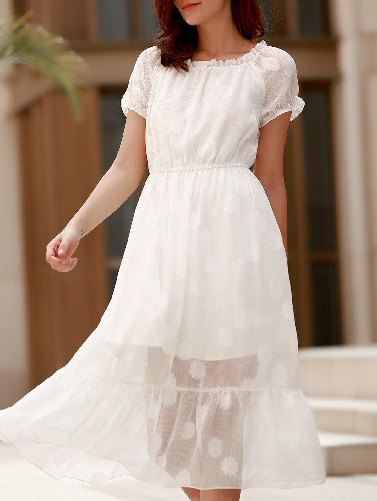 Charming Off-The-Shoulder Solid Color Gauze Design Midi Dress For Women - WHITE XL