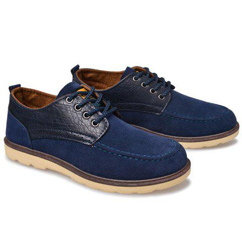 Preppy  Splicing and Lace-Up Design Men's Casual Shoes - BLUE 43