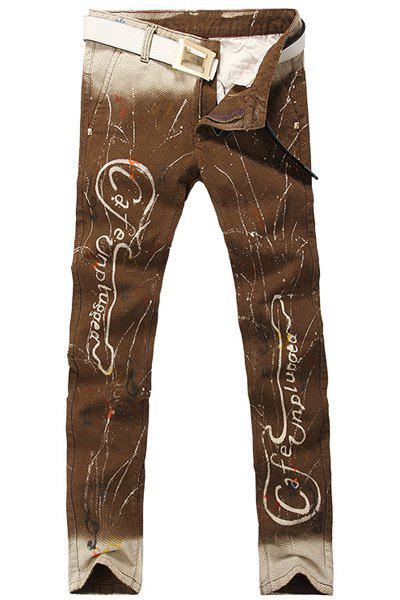 Casual Ombre Printing Zip Fly Denim Pants For Men - CHOCOLATE 29