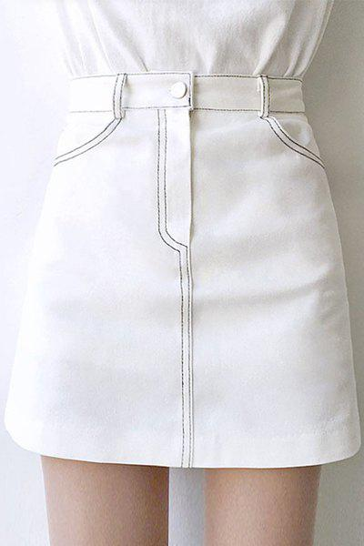 Brief High Waisted Solid Color Mini Skirt For Women stylish high waisted solid color pu leather skirt for women