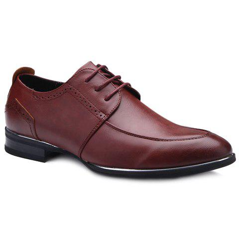 Fashionable Lace-Up and Engraving Design Men's Formal Shoes - WINE RED 43