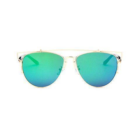 Chic Metal Bar Embellished Golden Frame Women's Sunglasses -  GREEN