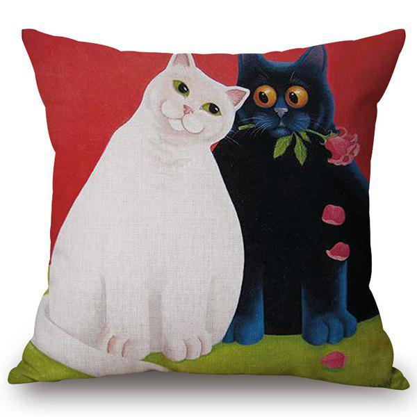Fashionable White and Black Cats Pattern Cotton and Linen Pillow Case(Without Pillow Inner) - COLORMIX
