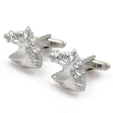 Pair of Chic Emboss Horse Head Shape Cufflinks For Men - SILVER