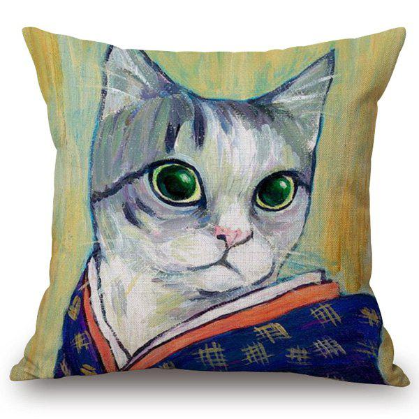Fashionable Oil Painting Cats Pattern Cotton and Linen Pillow Case(Without Pillow Inner) - COLORMIX