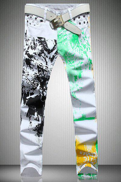 Casual Color Printing Zip Fly Straight Legs Denim Pants For Men - WHITE 31
