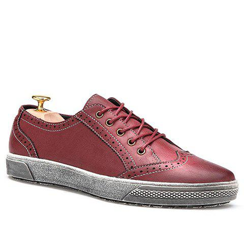 Trendy Engraving and Lace-Up Design Men's Casual Shoes - WINE RED 39