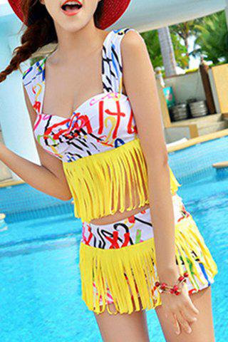 Chic Sweetheart Neck Fringed Letter Print Women's Tankini Set - YELLOW M