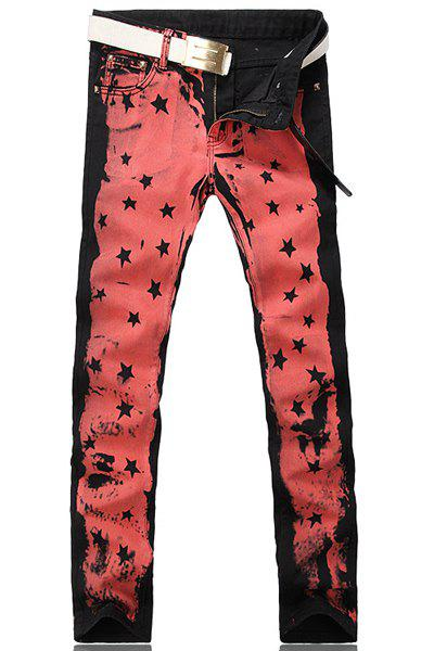 Zipper Fly Stars Print Straight Leg Men's Jeans - BLACK 29